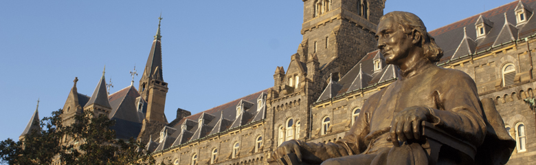 Image of statue on Georgetown University campus