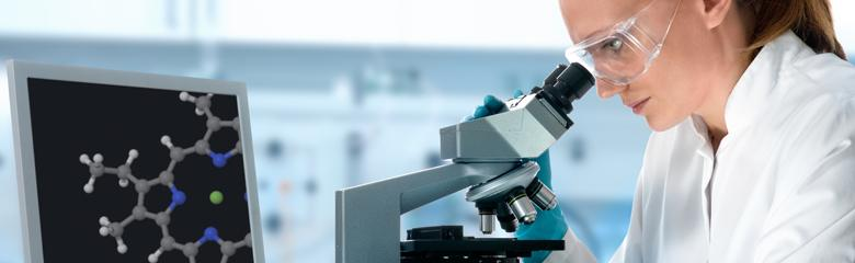 Image of researcher with microscope