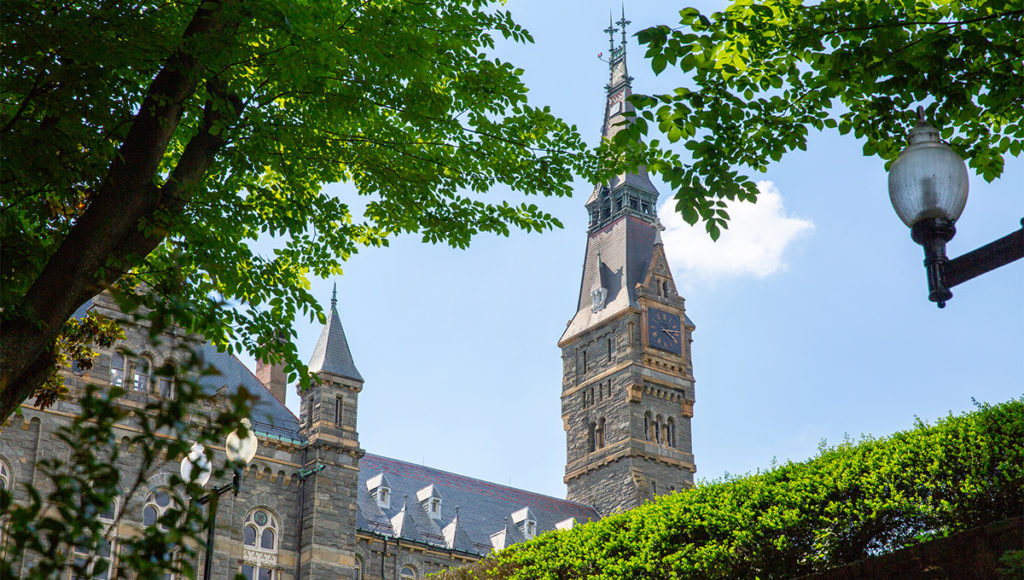 Healy Hall with trees