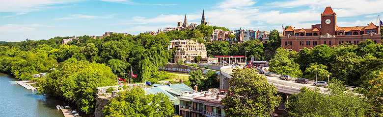 Georgetown campus viewed from above the Potomac River